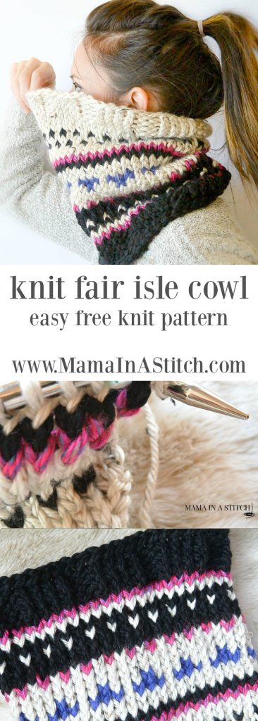 Alpine Heights Knit Fair Isle Cowl – Mama In A Stitch