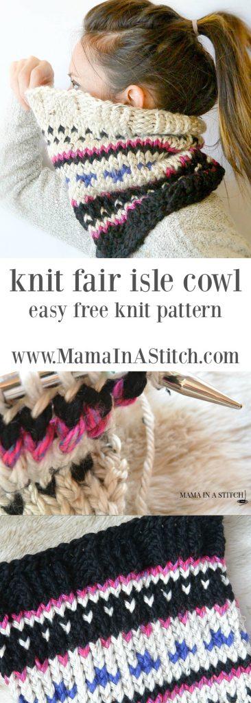 Alpine Heights Knit Fair Isle Cowl Mama In A Stitch