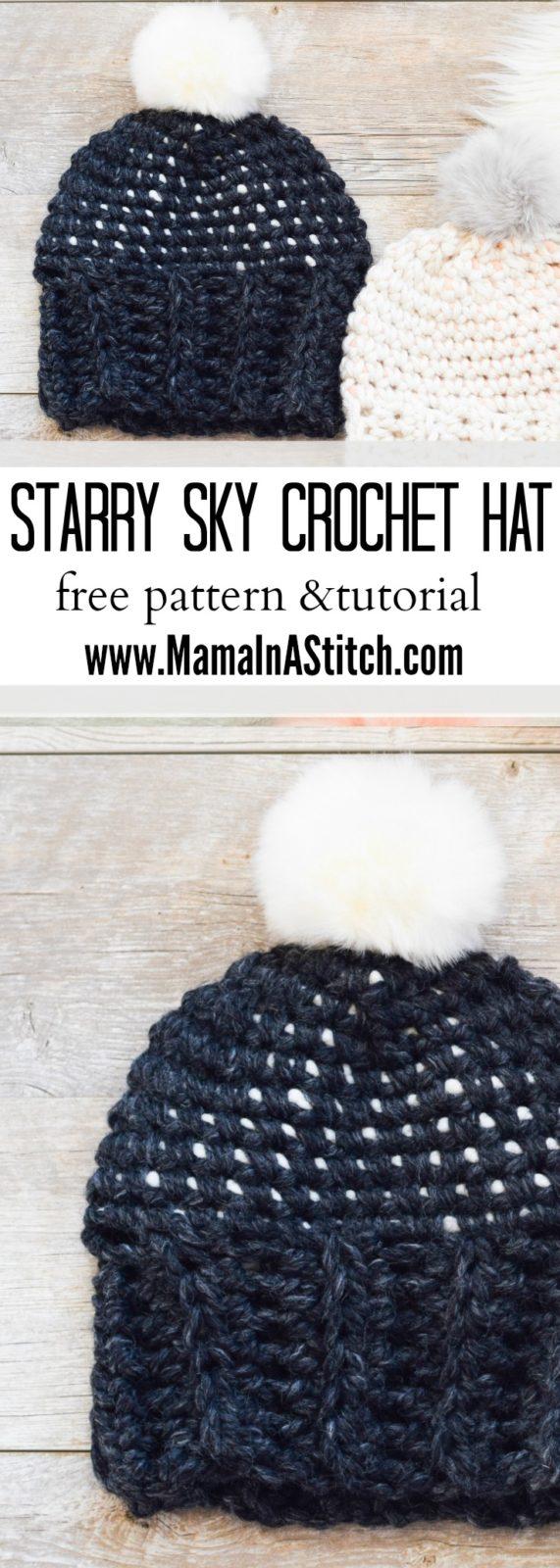 Starry Sky Crochet Hat Pattern – Mama In A Stitch