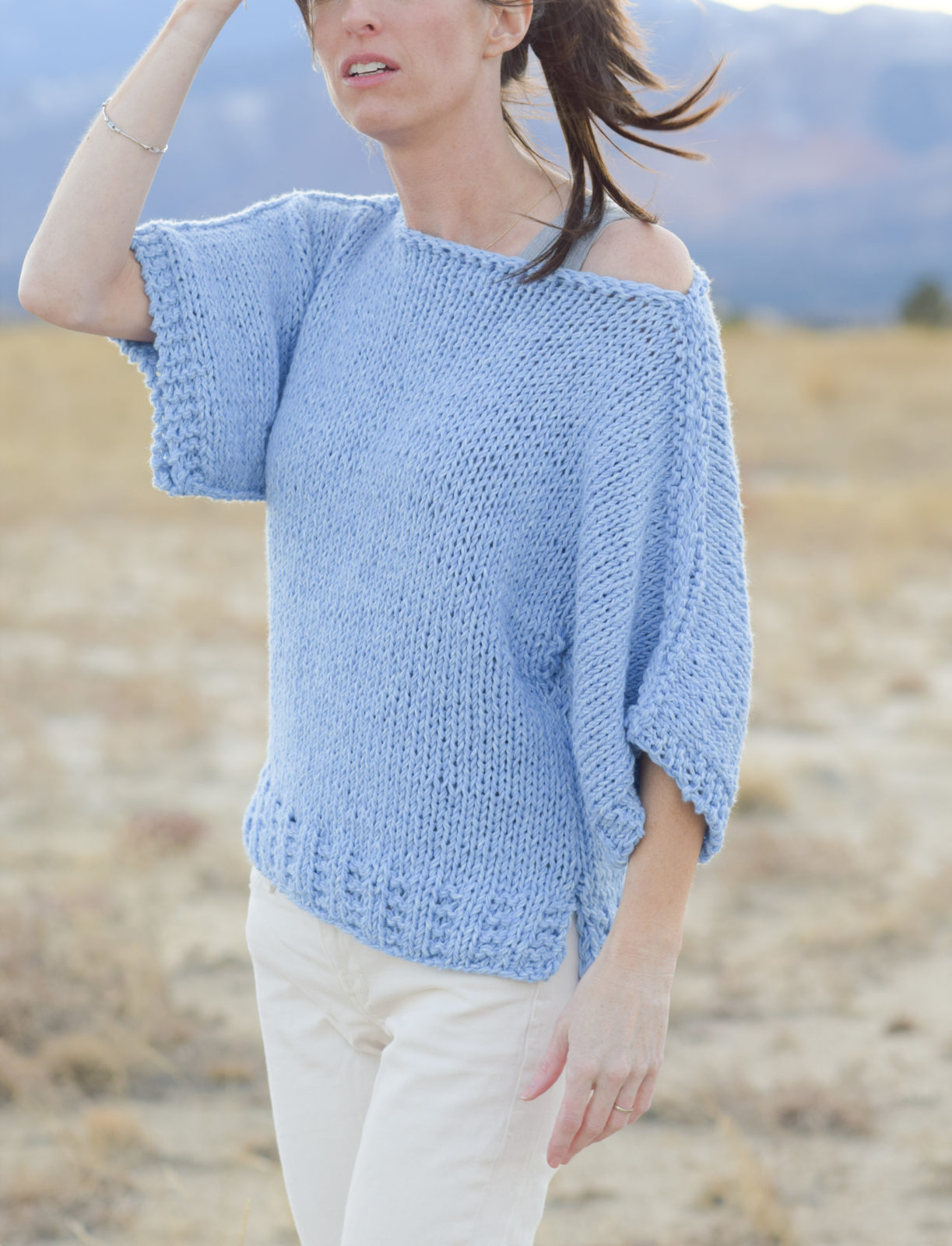 Easy Sweater Knitting Pattern For Beginners : Easy knit boxy t shirt quot jeans pattern mama in a stitch