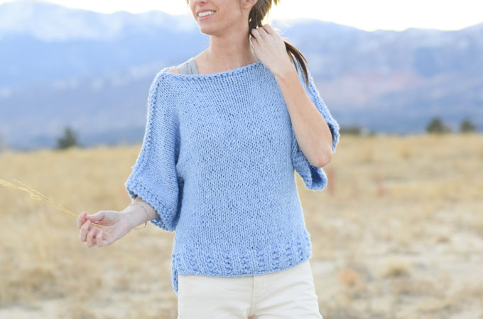 "Easy Knit Boxy T Shirt ""Jeans"" Pattern"