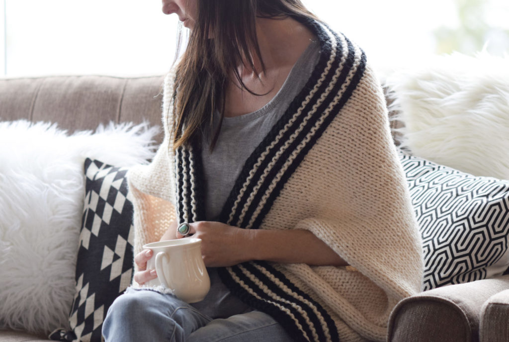 Knitting Pattern For Blanket Sweater : Classic Stripe Easy Knit Sweater (Blanket Sweater)   Mama In A Stitch