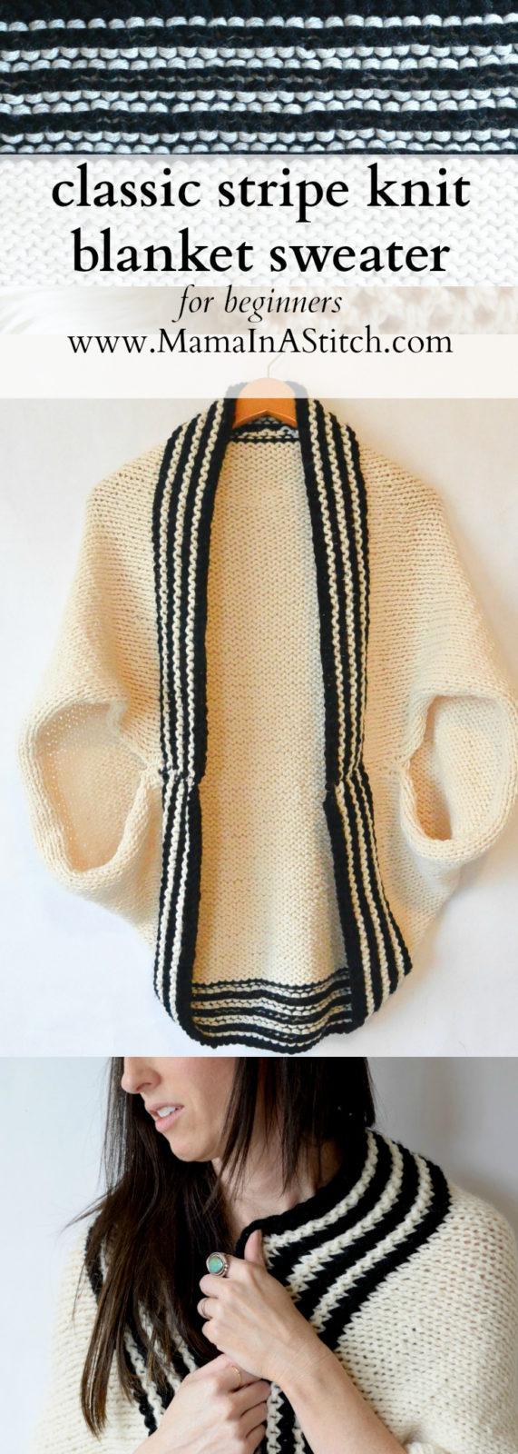 Classic Stripe Easy Knit Sweater (Blanket Sweater) - Mama ...