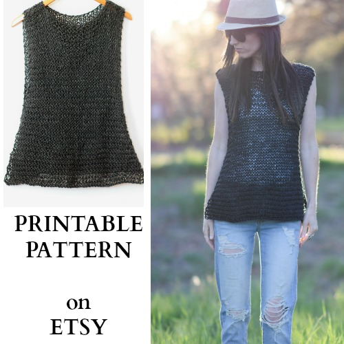 Tank Top Knitting Pattern Free : Easy