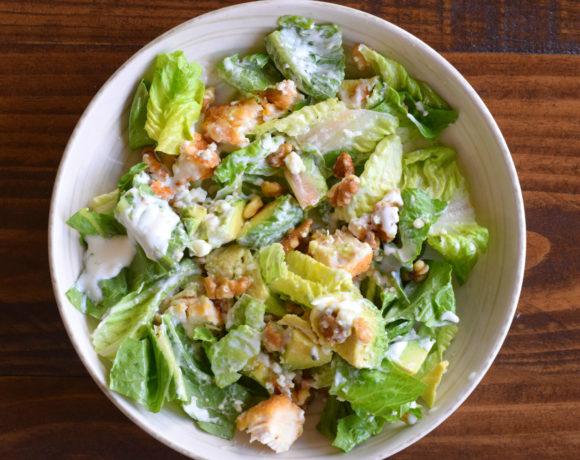 Five Minute Easy Blue Chicken Walnut Avo Salad