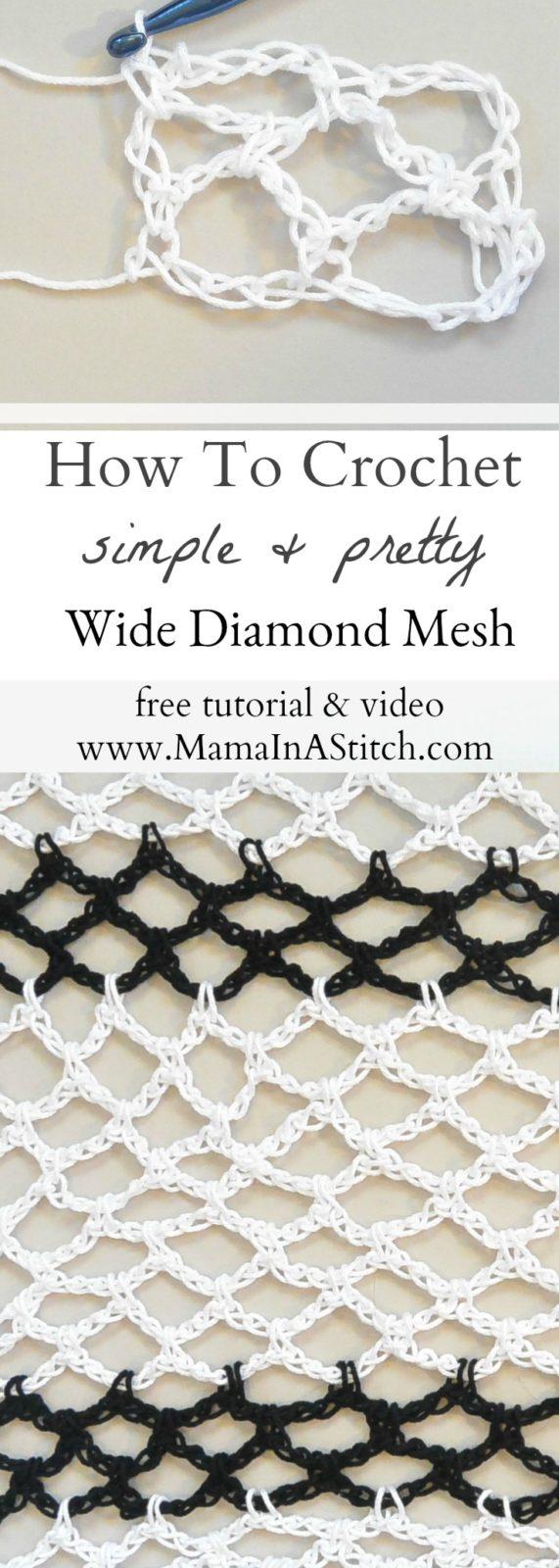How To Crochet Diamond Mesh Stitch – Mama In A Stitch
