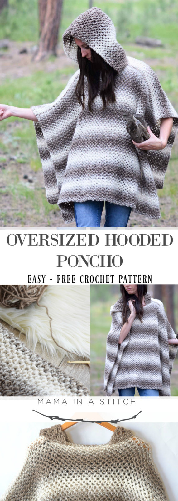 Driftwood Oversized Crochet Hooded Poncho Pattern – Mama In