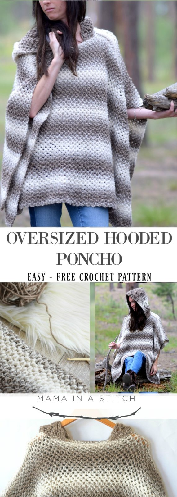 Driftwood Oversized Crochet Hooded Poncho Pattern Mama In A Stitch