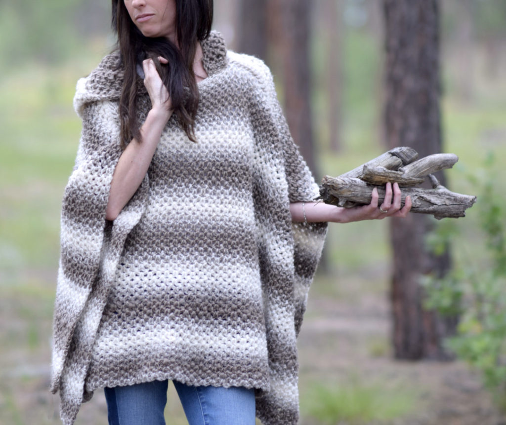 Driftwood Oversized Crochet Hooded Poncho Pattern