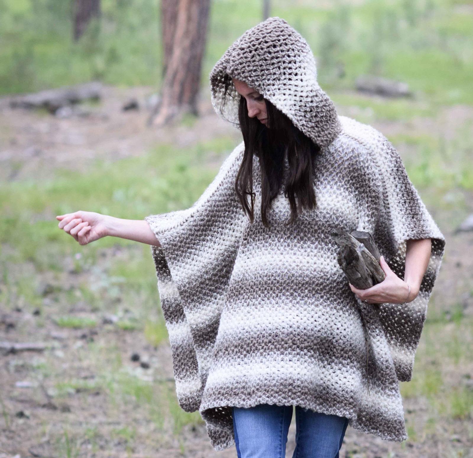 Driftwood Oversized Crochet Hooded Poncho Pattern Mama