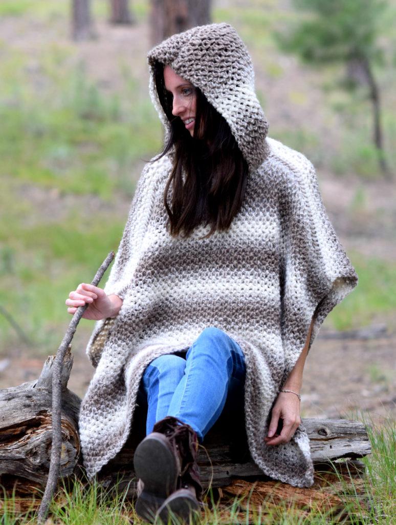 Oversized Hood Knitting Pattern : Driftwood Oversized Crochet Hooded Poncho Pattern   Mama ...