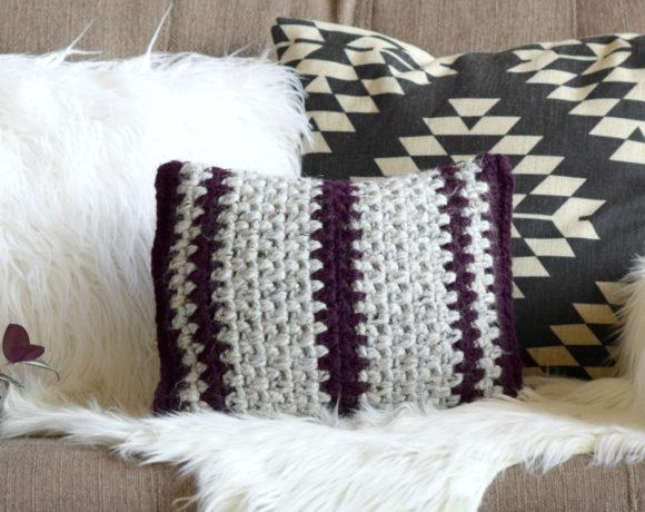 Taos Crochet Throw Pillow & Wool Ease Yarn