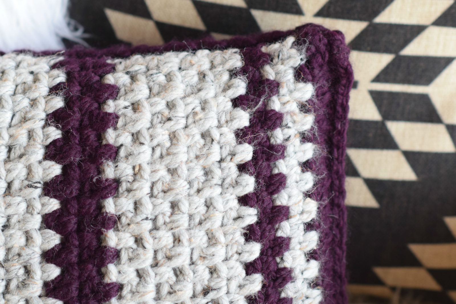 Taos crochet throw pillow wool ease yarn mama in a stitch i love how this stitch paired with the super bulky yarn give this pillow such great texture and almost a woven look bankloansurffo Choice Image