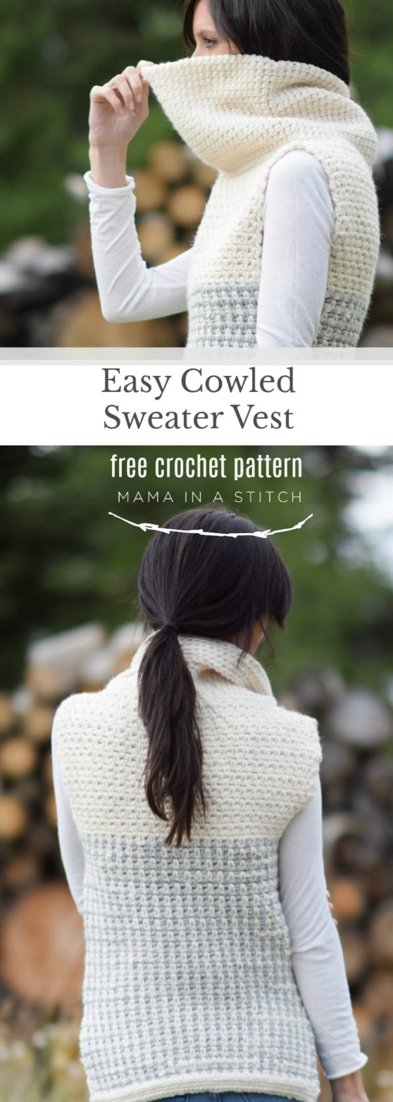 Easy Crochet Cowled Sweater Vest – Mama In A Stitch