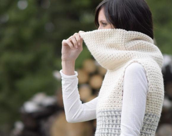 Easy Crochet Cowled Sweater Vest