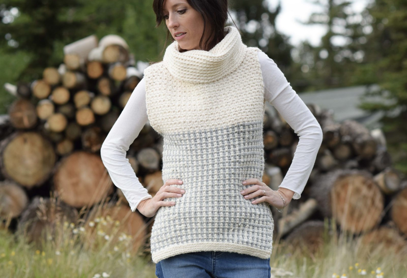 Easy Crochet Cowled Sweater Vest Mama In A Stitch