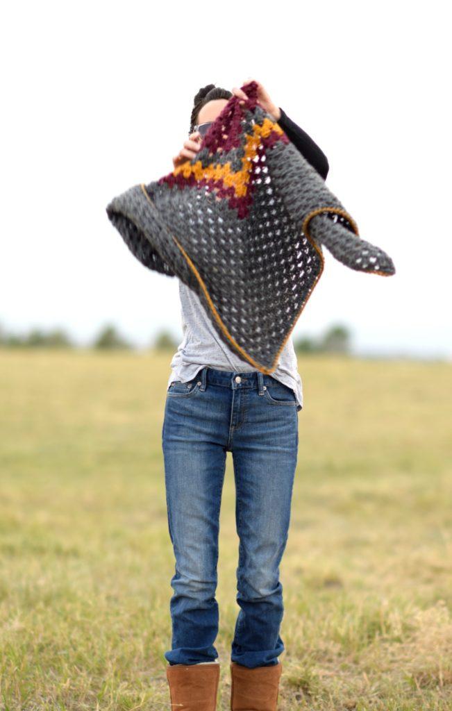 Smoky Mountains Crochet Triangle Wrap