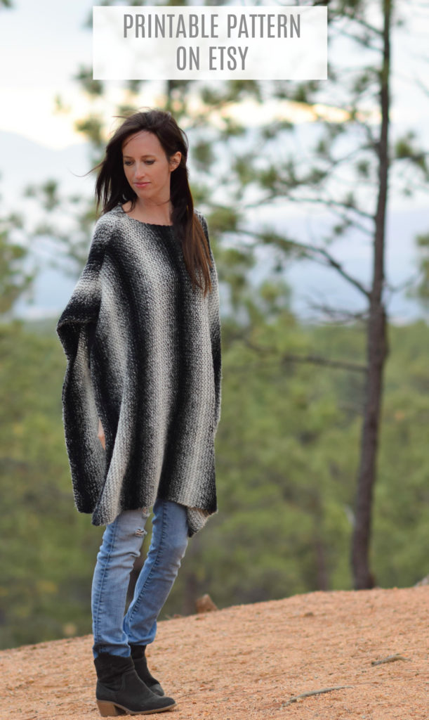 Aspen Relaxed Knit Poncho Pattern Mama In A Stitch