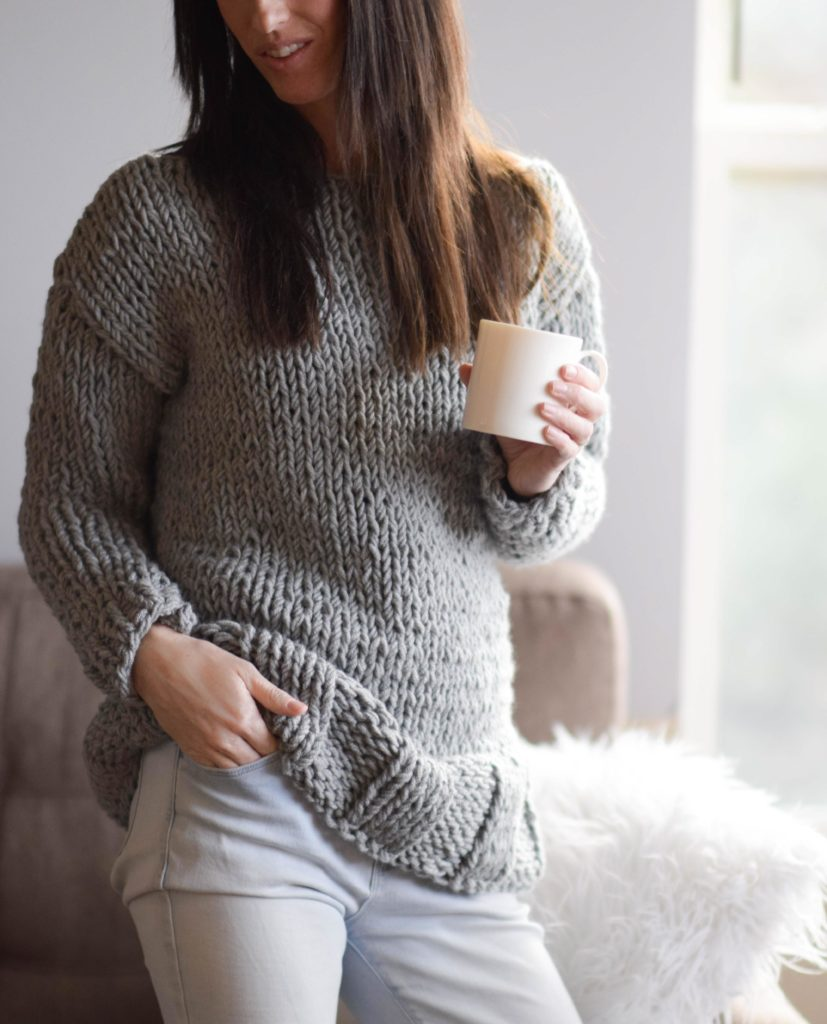 Winters Chunky Easy Knit Pullover Pattern - Mama In A Stitch