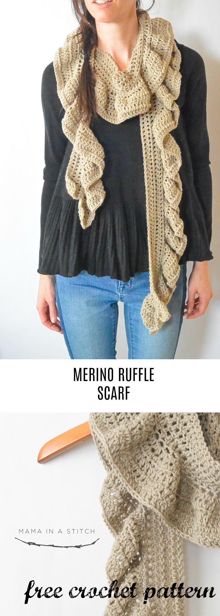Merino Crocheted Ruffle Scarf Pattern Mama In A Stitch
