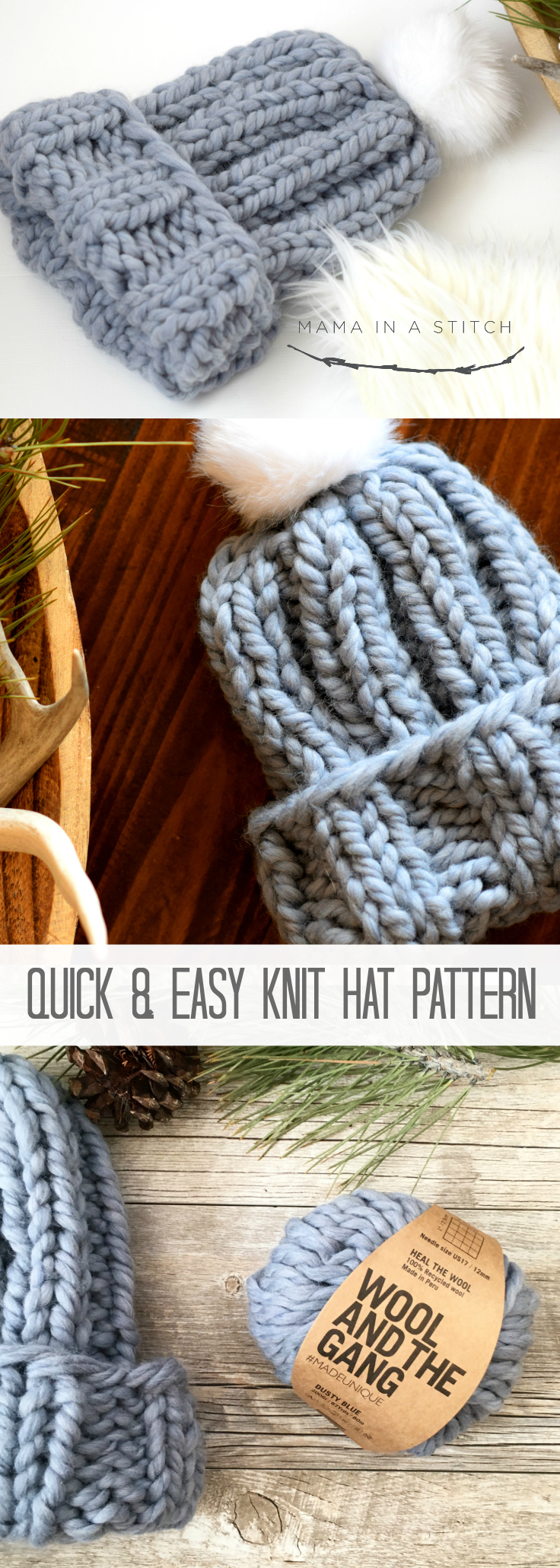 Quick Chunky Knit Hat Pattern Mama In A Stitch