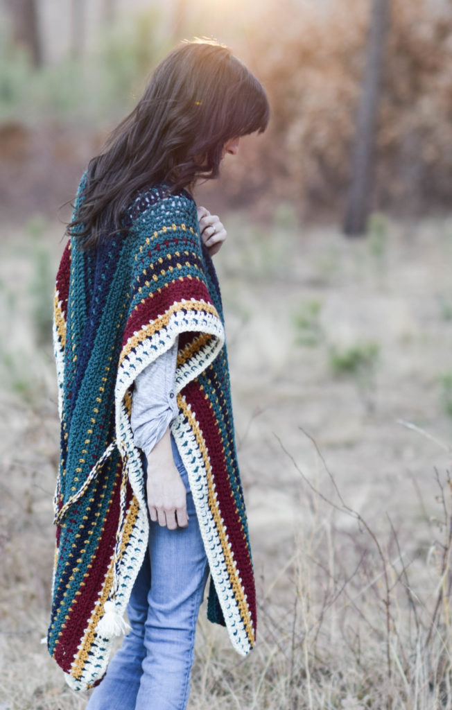 All The Colors Serape Crocheted Ruana Pattern