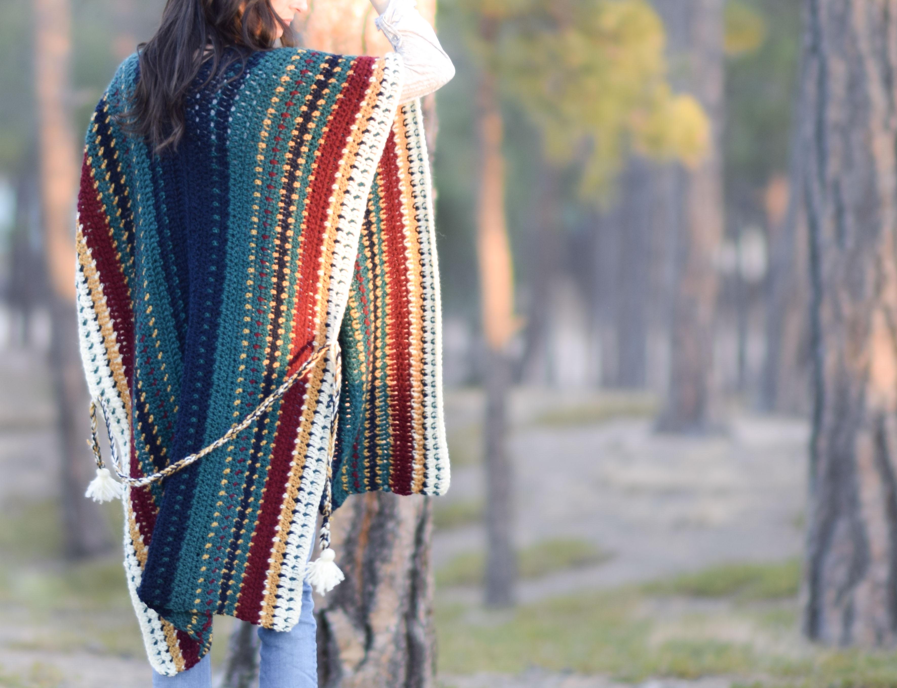 All The Colors Serape Crocheted Ruana Pattern – Mama In A Stitch