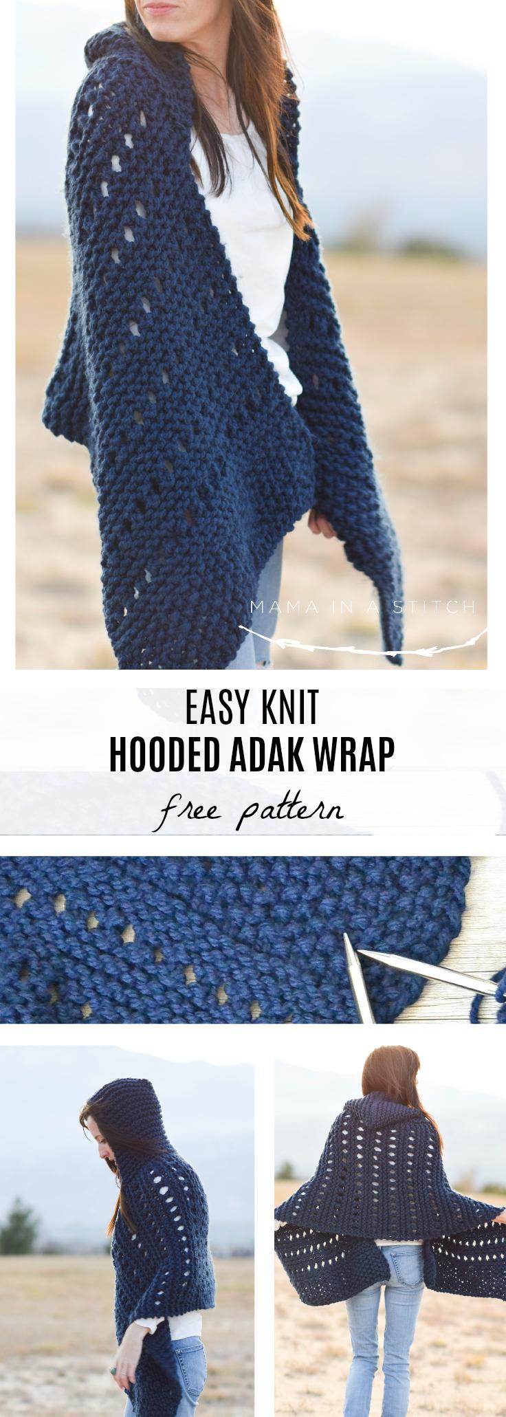 Hooded Knit Adak Wrap Pattern – Mama In A Stitch