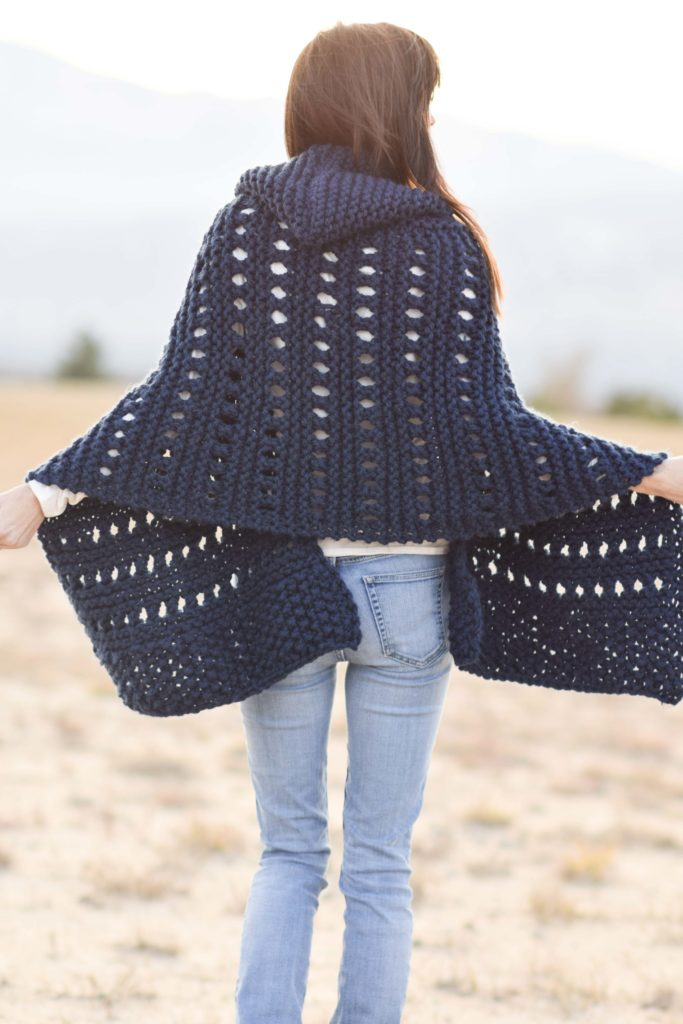 Hooded Knit Adak Wrap Pattern Mama In A Stitch