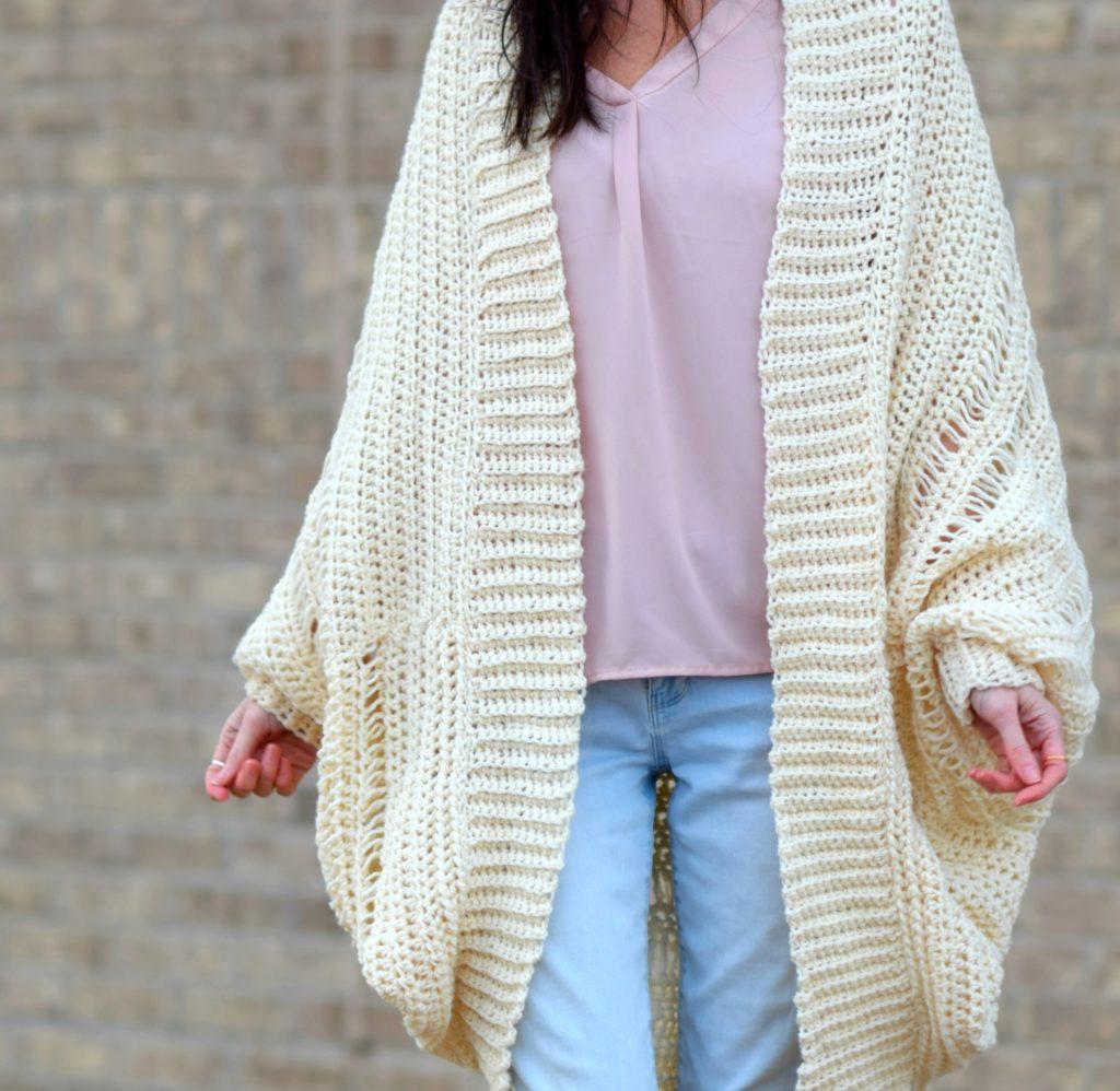 Pretty Drop Stitch Cardigan Beginner Crochet Sweater