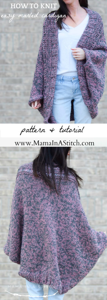 Easy Relaxed Marled Cardigan Knitting Pattern  U2013 Mama In A