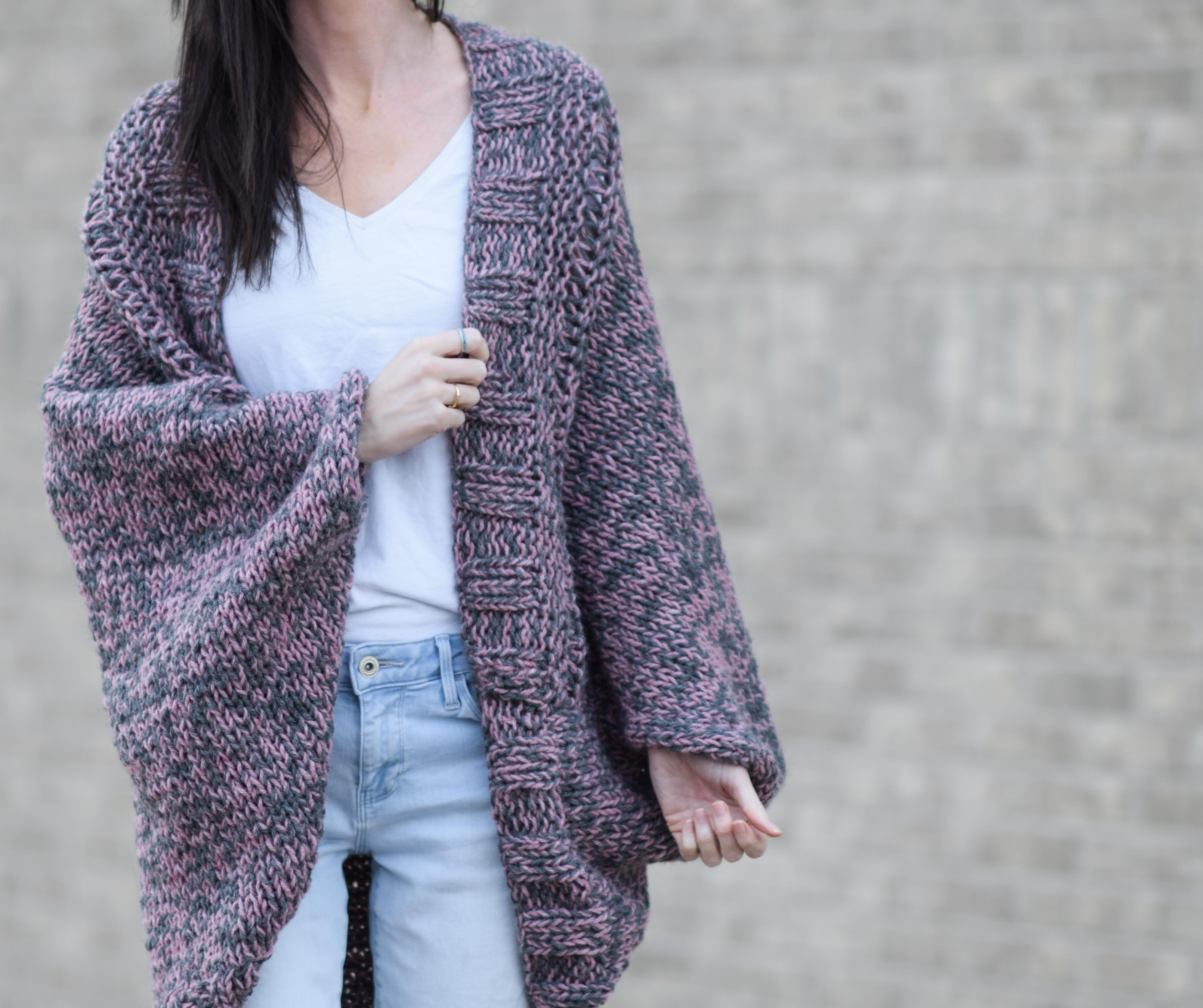 Easy Relaxed Marled Cardigan Knitting Pattern – Mama In A Stitch