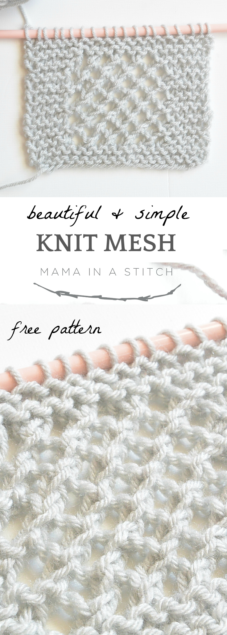 Super easy and free knitting pattern that creates a gorgeous knit mesh stitch!