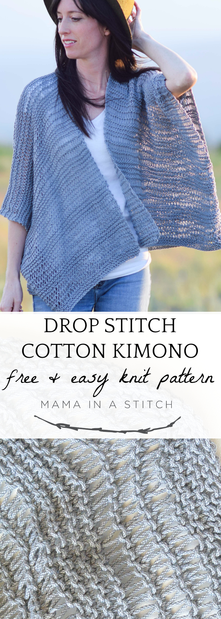 This super easy knitting pattern makes a gorgeous kimono, perfect for summer time! Free pattern as well as photos to show you how to assemble.  Such a fun cardigan to make even for beginners. #summer #diy #knittingpattern