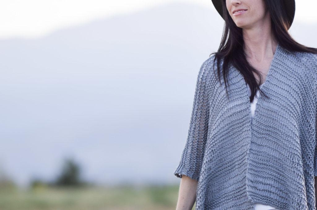 Drop Stitch Cotton Easy Kimono Knitting Pattern