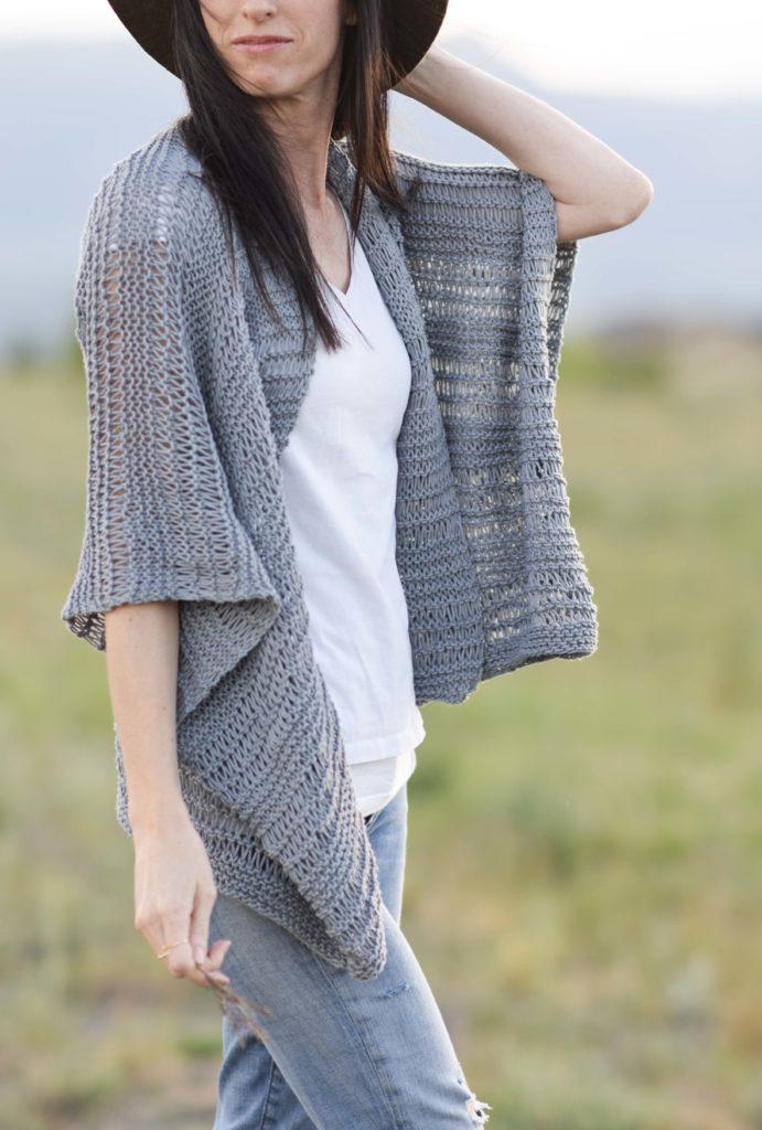 Drop Stitch Cotton Easy Kimono Knitting Pattern - Mama In ...
