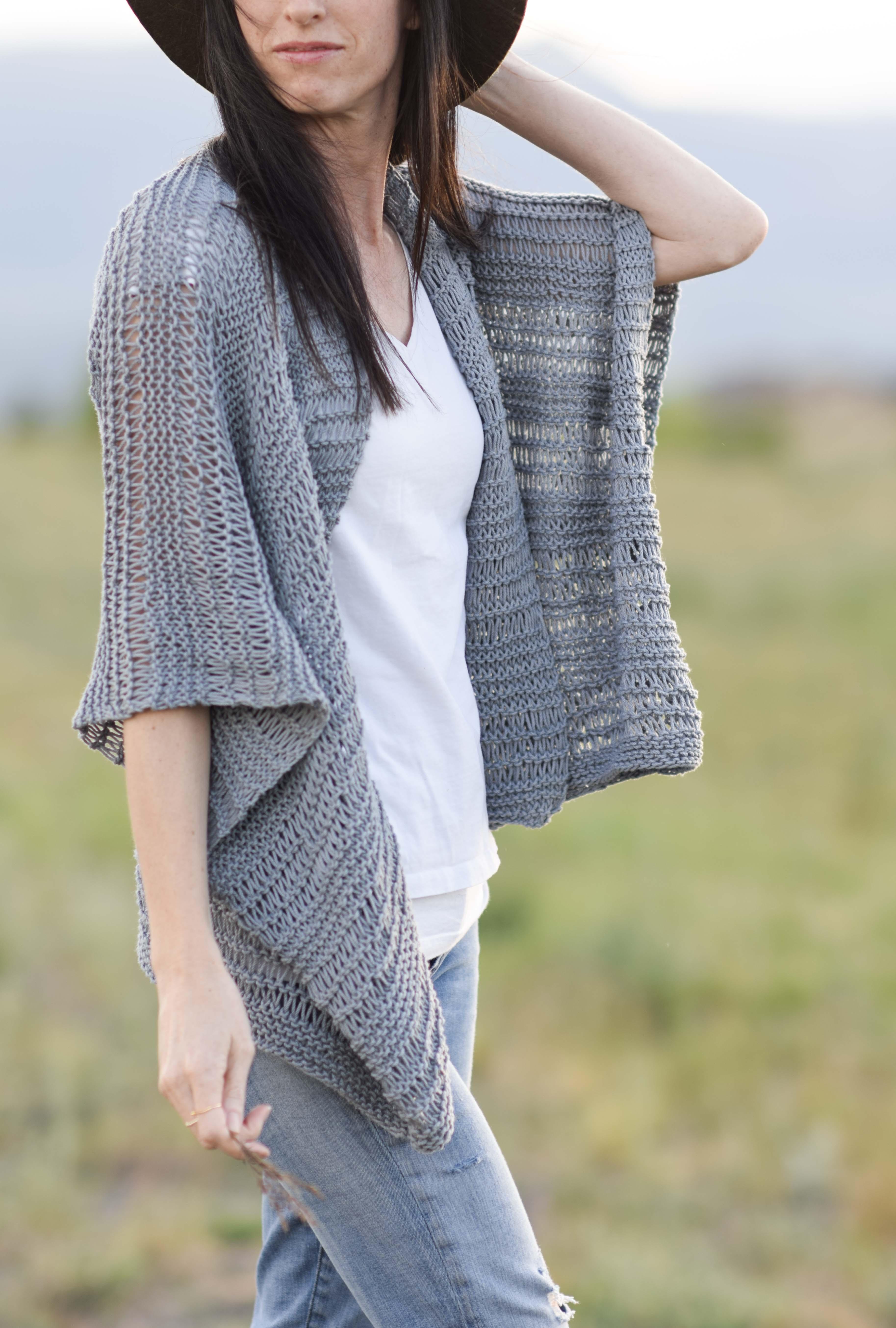 Drop Stitch Cotton Easy Kimono Knitting Pattern – Mama In A