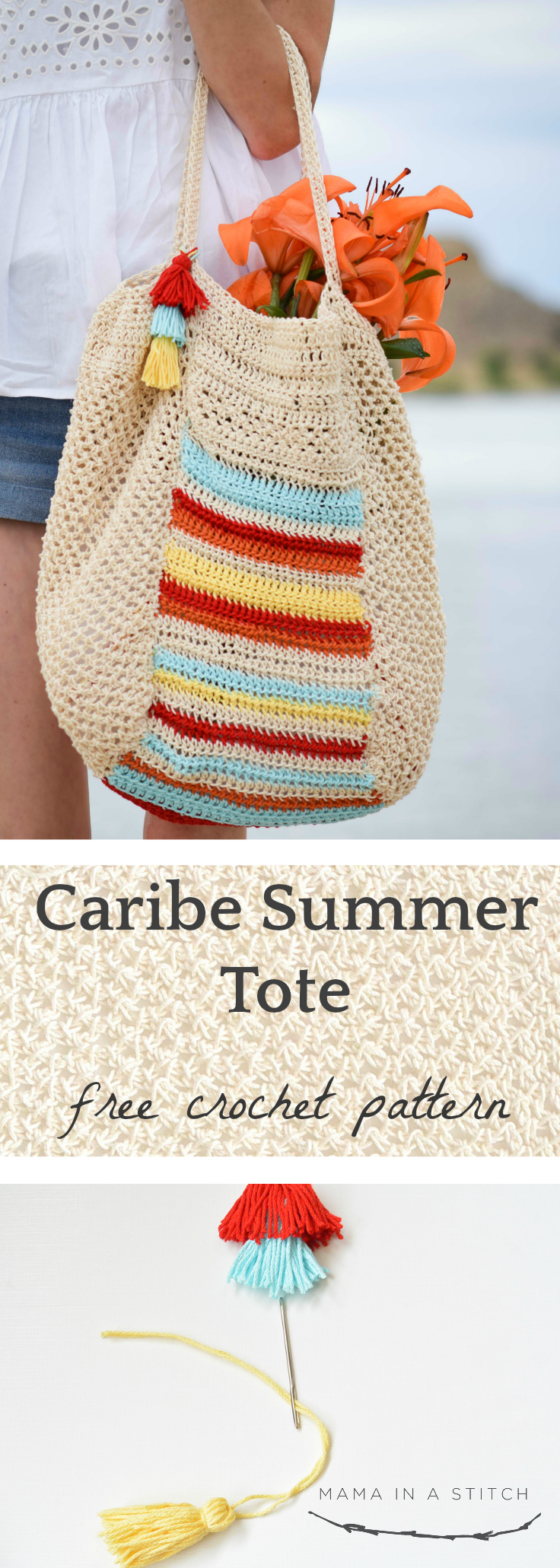 This big bag can hold all my summer stuff! It's so cute and there's a picture tutorial to show you how it's crocheted. Free, easy crochet pattern available.  #crochetpattern #diy #summer #totepattern