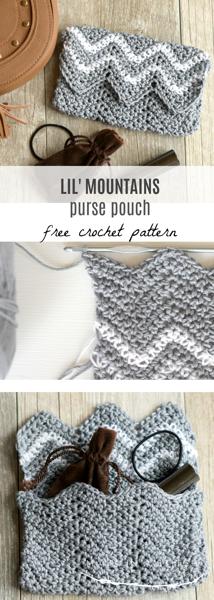This works up so quickly and is so easy to crochet! Free pattern and it uses less than one skein of yarn. Great for your purse or even back to school! #freecrochetpattern #style #crafts #diy #backtoschool