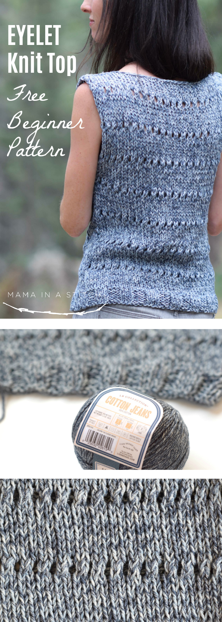 eyelet sleeveless top easy knitting pattern mama in a stitch