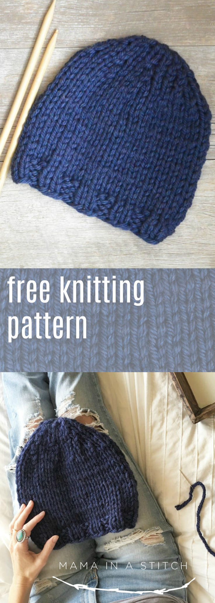 This super easy hat knitting pattern is perfect for beginners! It's knit flat and the free pattern is simple to understand. #knitting #crochet #crafts #diy