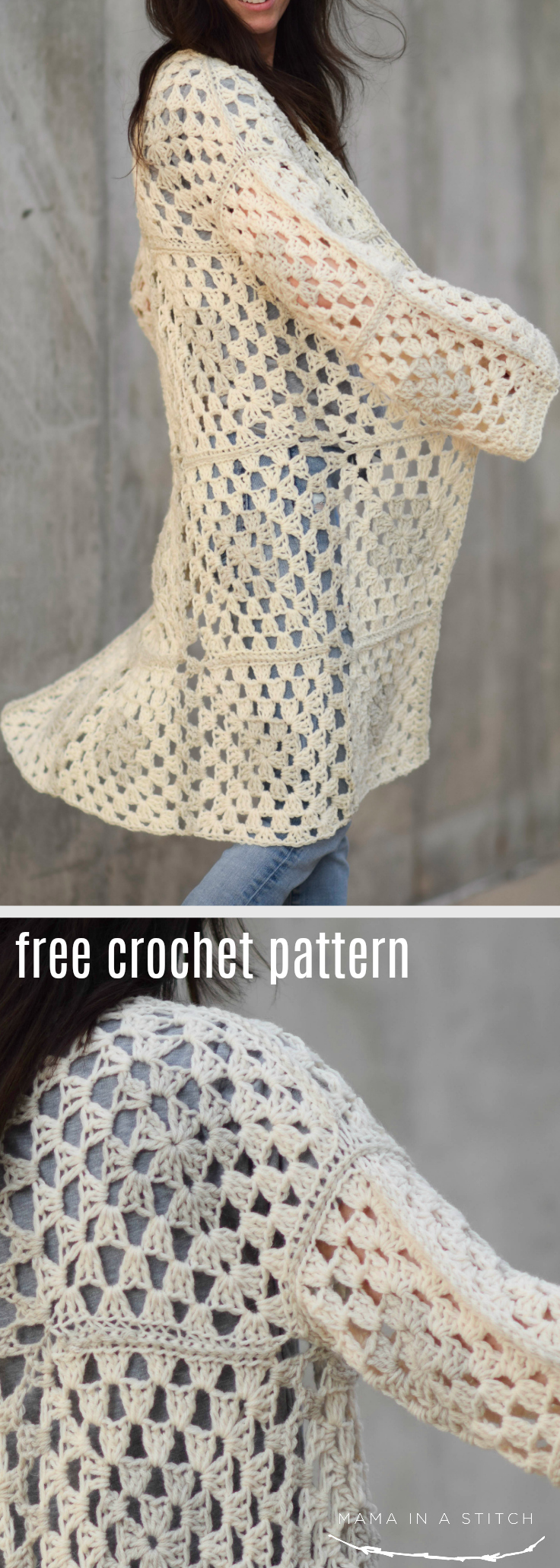 This crocheted sweater pattern is so cute for fall and winter! It's easy to make with granny squares and there are links to tutorials throughout the free pattern. #crochetpattern #diy #handmade #style #crafts #freepattern
