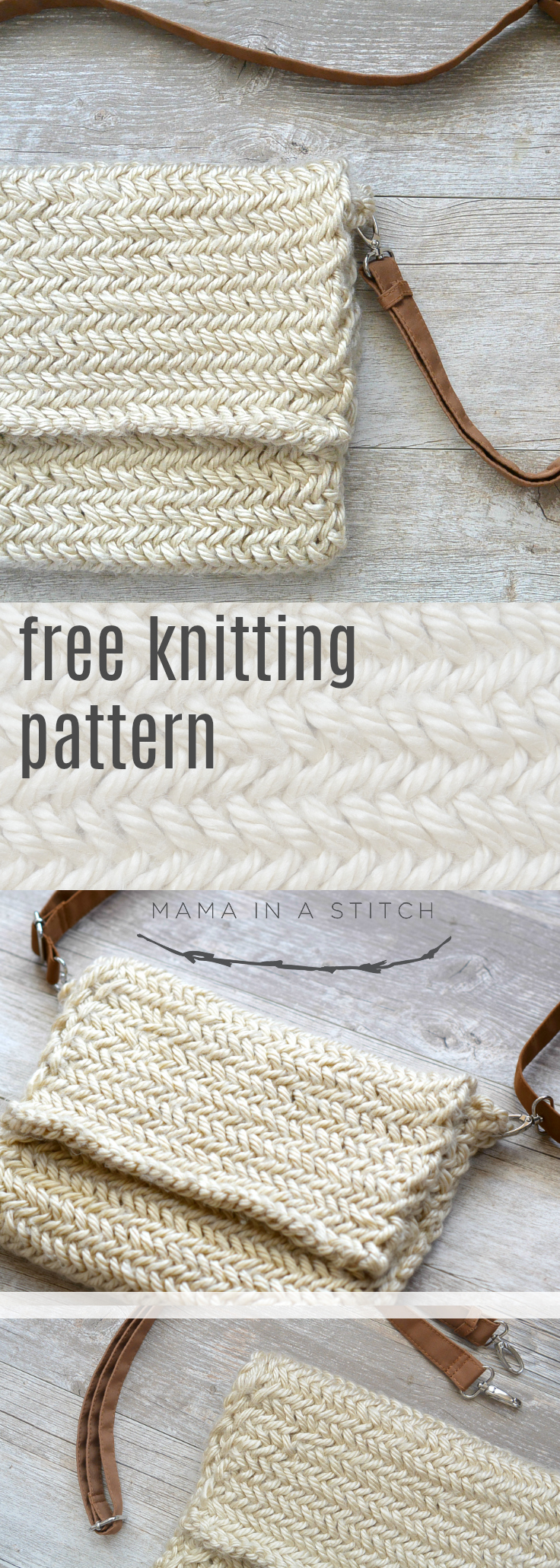 This gorgeous bag is so easy to knit with this free knitting pattern and links to a tutorial! Perfect for fall, winter or any time of year. #diy #crafts #knittingpatterns