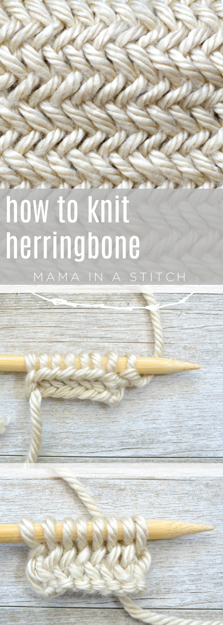 This picture tutorial will show you how to knit herringbone and there's also useful tips and a link to a video as well! #freeknittingpattern #tuturial #knittingpattern