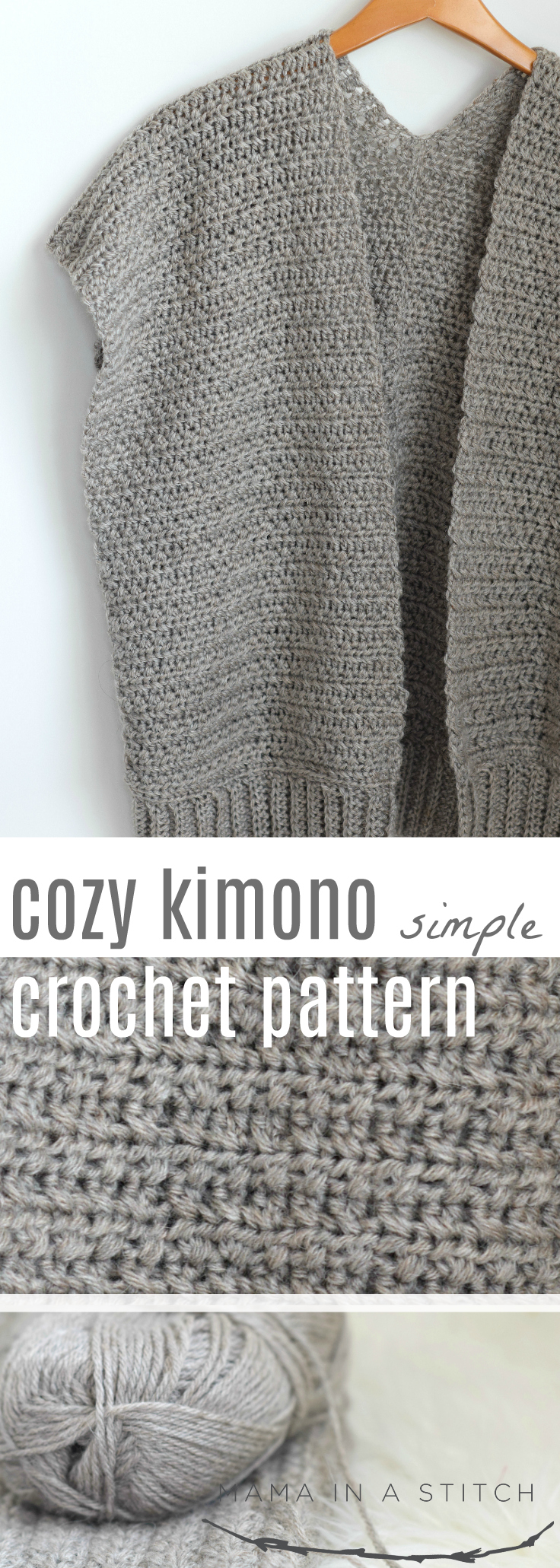 Easy and pretty pattern for a fall or winter crocheted kimono! This works up so beautifully and is perfect for a beginner crocheter or if you are just looking for an easy project.  #freepattern #crochet #fall #diy #crafts