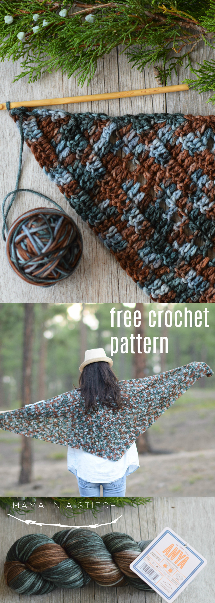 Love this natural crocheted wrap.  This is a free crochet pattern that's pretty easy! So nice for fall and winter to give as gifts or make for yourself.  #crochetpattern #crafts #diy #style