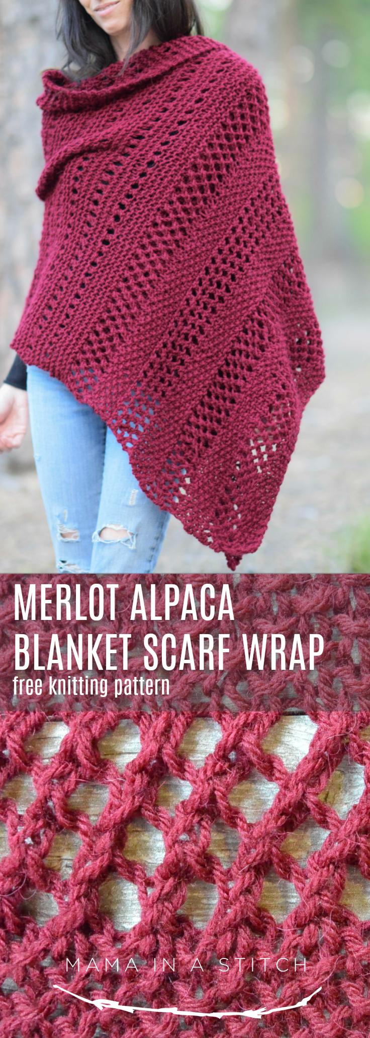 Merlot Alpaca Wrap Shawl Knitting Pattern Mama In A Stitch