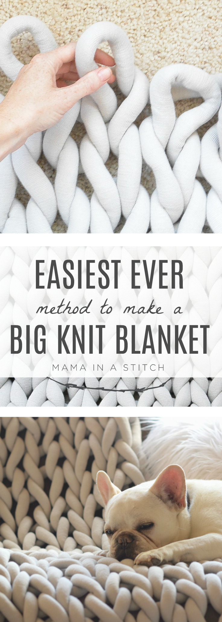 Such an easy way to make a big knit blanket without having to arm knit or needle knit! Perfect for beginner knitters or those of us who have never knit before.  Tutorial and pattern includes a video to walk you through it! #extremeknitting #bigknits #bigknitblanket