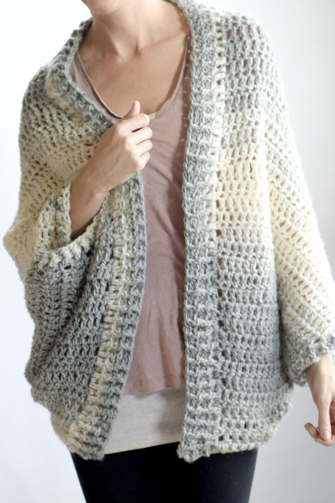 Free easy knit shrug sweater pattern tutorial - Chic Easy ...