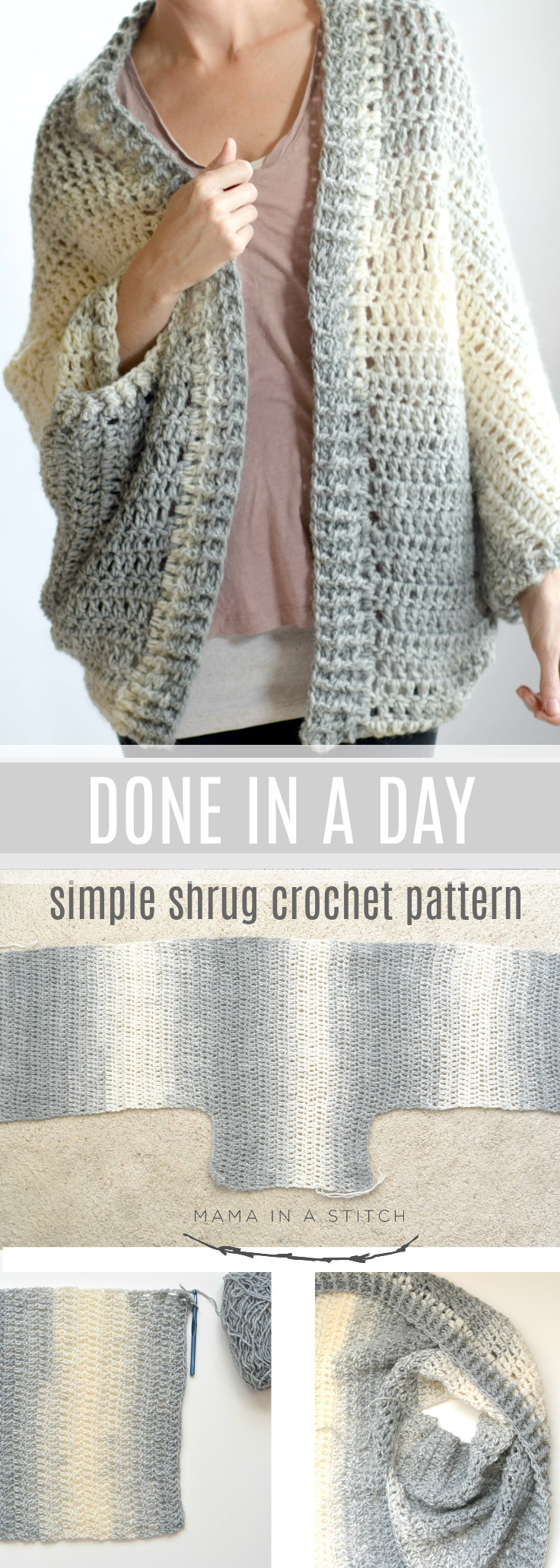 Done In A Day Quick Shrug Crochet Pattern Mama In A Stitch